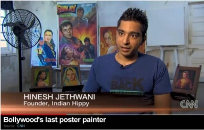 Vintage Bollywood movie posters hand painted by Indian Hippy's last few remaining Bollywood poster painters & artists in India featured in CNN International Channel