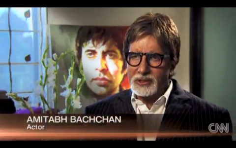 Hand painted portrait of Amitabh Bachchan created in vintage Bollywood movie poster style by old Hindi film billboard &amp; poster painters in Mumbai, India